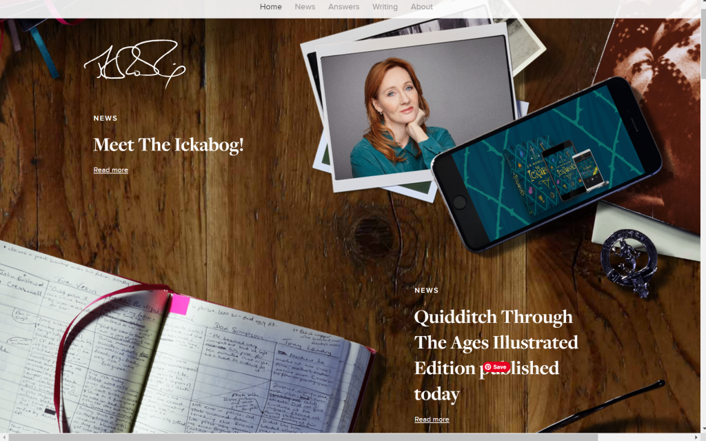 A screenshot of JK Rowling books and news on her author website.