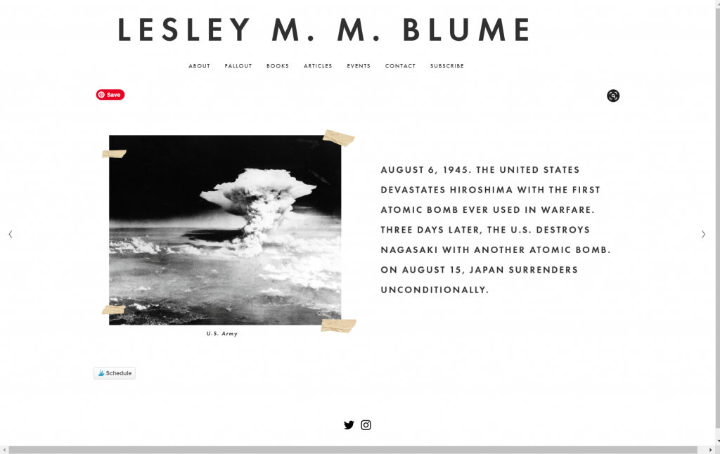 Lesley Blume's stunning author website example is one of the best website design ideas.