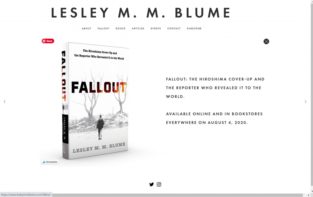 A screenshot of Lesley MM Blume books on her author website home page.