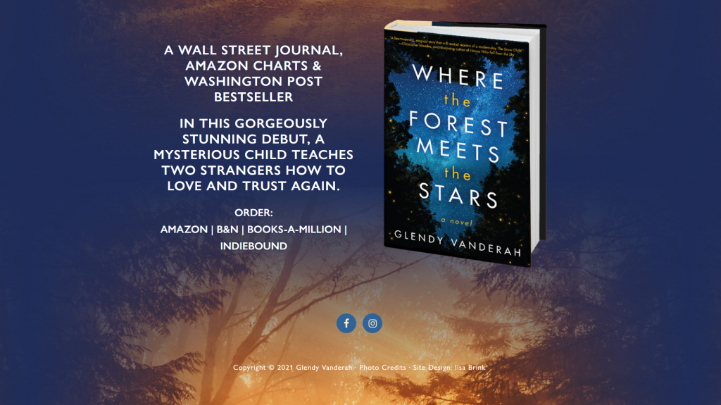A screenshot of the Glendy Vanderah author website homepage, with her book Where the Forest Meets the Stars on display.